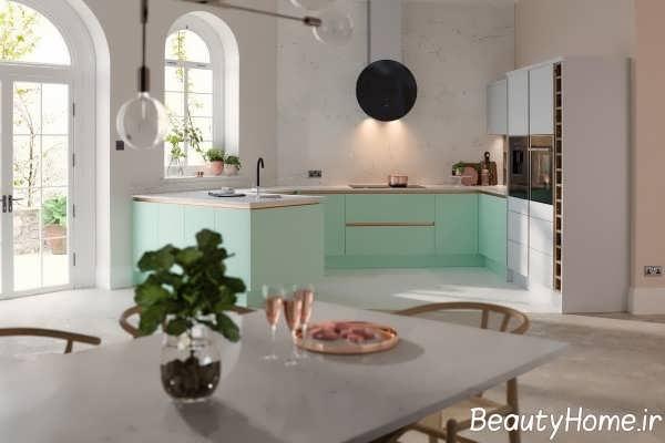 طراحی مدرن آشپزخانه سبز