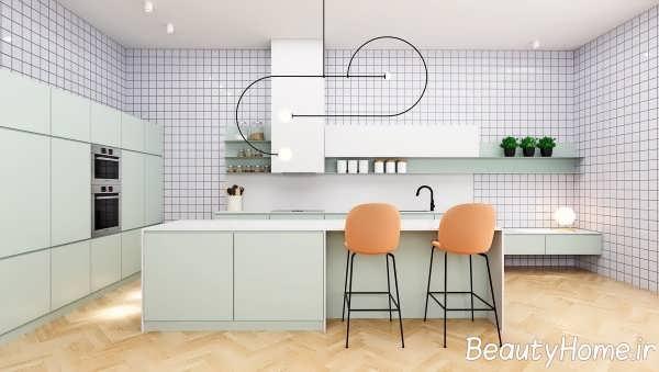 طراحی لاکچری آشپزخانه سبز