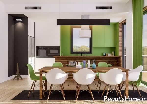 دیزاین جذاب آشپزخانه با تم سبز