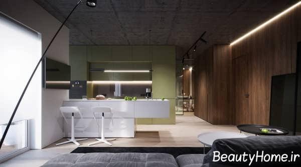 آشپزخانه ایده آل با تم سبز
