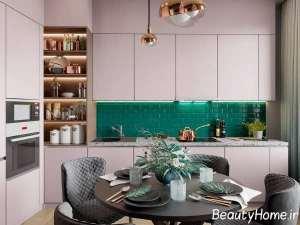 آشپزخانه شیک با تم سبز
