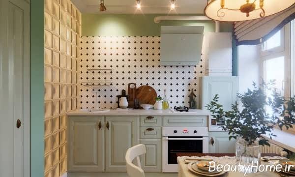 آشپزخانه با چیدمان سبز