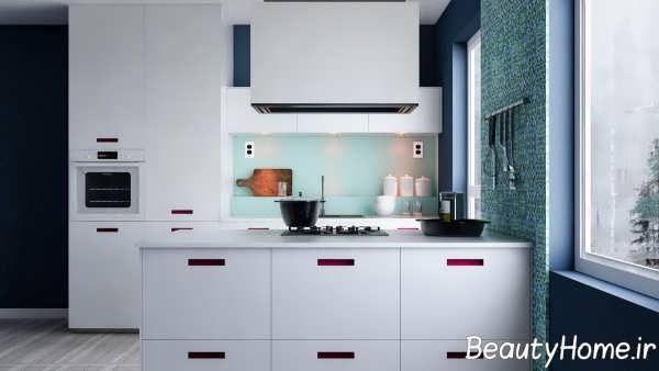 آشپزخانه مدرن با تم سبز