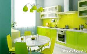 دکوراسیون مدرن آشپزخانه سیز