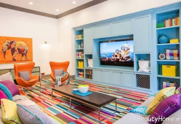 دکوراسیون اتاق نشیمن رنگی