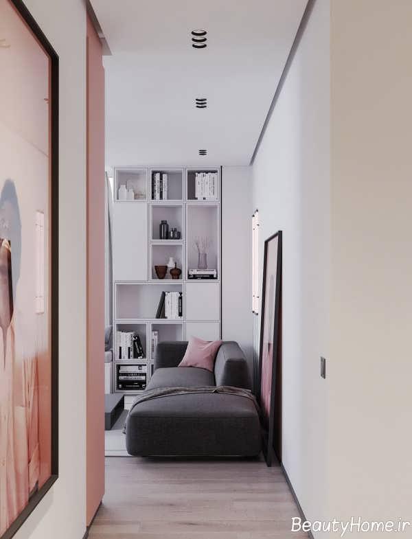 طراحی متفاوت منزل با تم خاکستری و صورتی