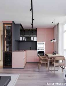دیزاین مدرن منزل با تم خاکستری و صورتی