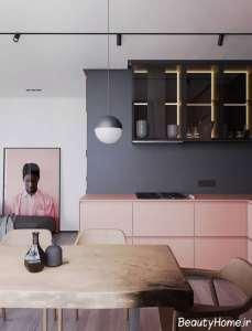 دیزاین لاکچری منزل با تم طوسی و خاکستری