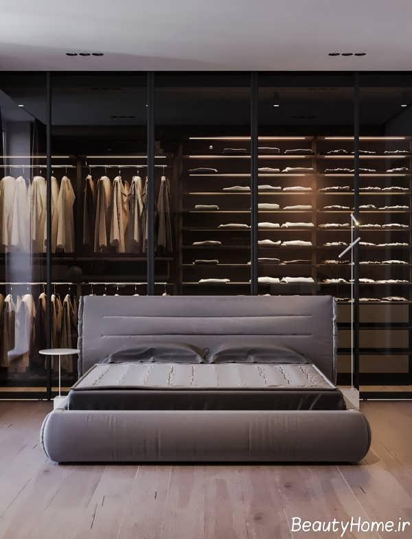 طراحی عالی اتاق خواب با تم خاکستری