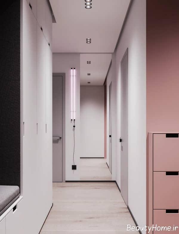 طراحی لاکچری منزل با تم خاکستری و صورتی