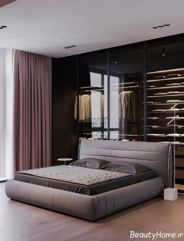 طراحی اتاق خواب با تم ترکیبی خاکستری و طوسی