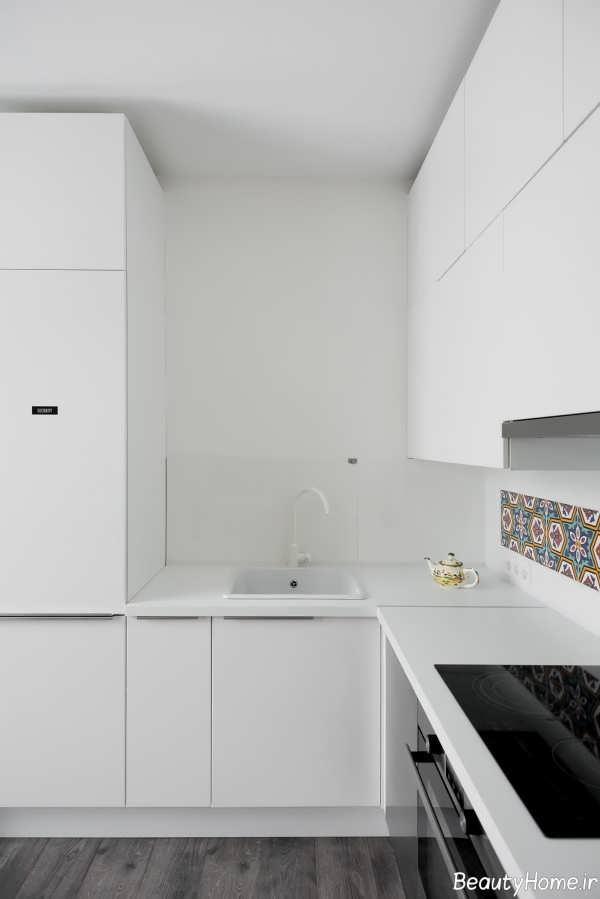 دکوراسیون داخلی آشپزخانه سفید و مدرن