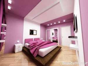 چیدمان متفاوت اتاق خواب مستر با تم صورتی