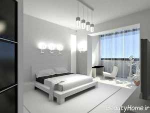 دیزاین متفاوت اتاق خواب مستر با تم سفید