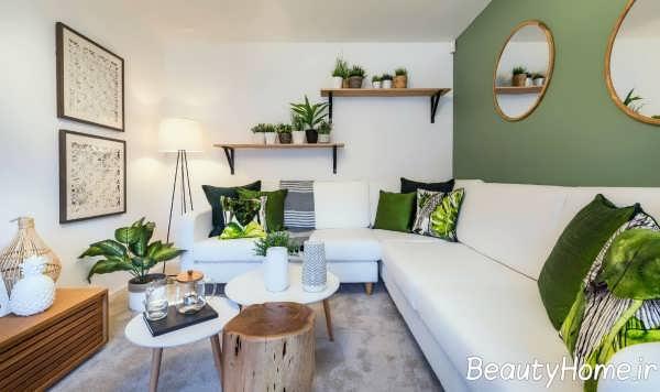 دکوراسیون زیبای اتاق پذیرایی با تم سبز