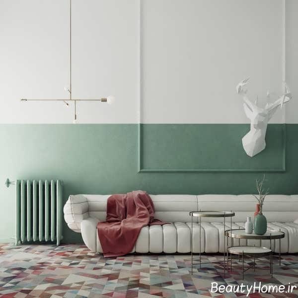 دکوراسیون جذاب اتاق پذیرایی با تم سبز