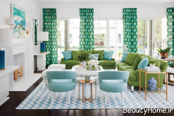 اتاق پذیرایی شیک با تم سبز