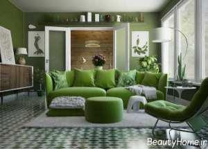 دکوراسیون ظریف پذیرایی با تم سبز