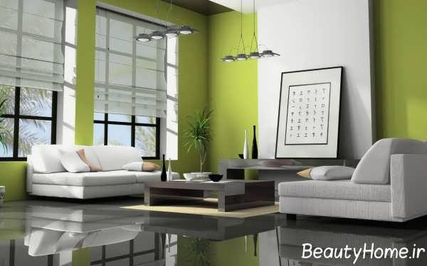 اتاق نشیمن شیک با تم سبز
