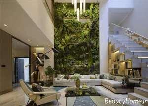 طراحی لاکچری اتاق پذیرایی با تم سبز
