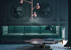 اتاق پذیرایی با تم سبز