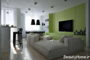 اتاق پذیرایی شیک و سبز