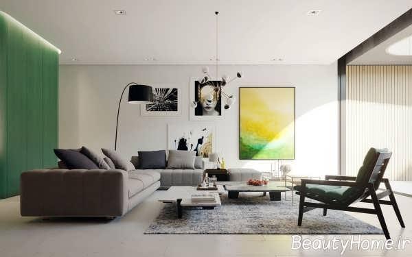 تزیین مدرن اتاق پذیرایی با تم سبز