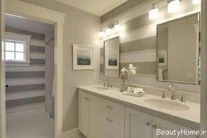 مدل کابینت سفید و مدرن برای سرویس بهداشتی
