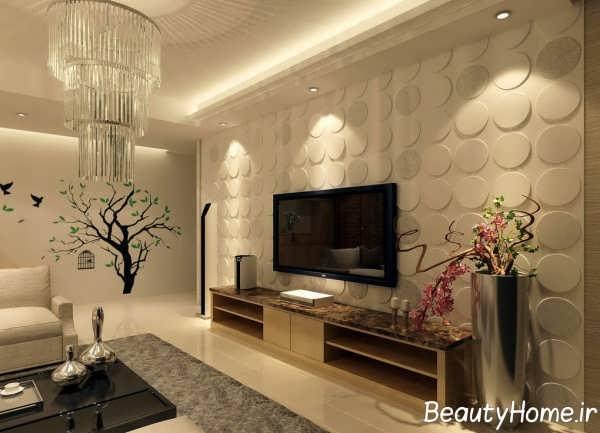 دیزاین فوق العاده دیوار اتاق پذیرایی