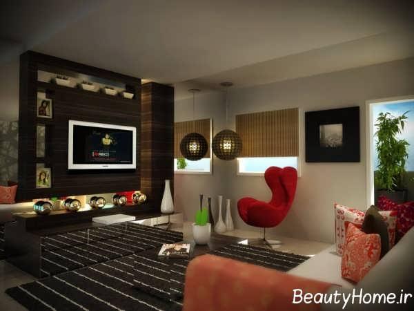 طراحی شیک دیوار اتاق پذیرایی