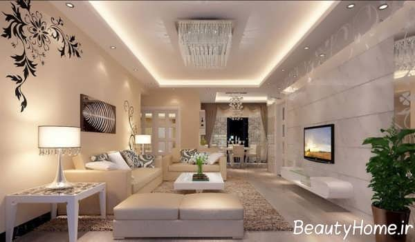 طراحی شیک دیوار اتاق نشیمن