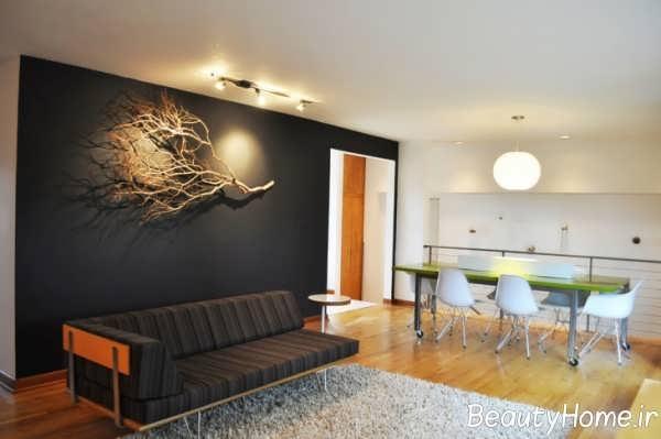 تزیین عالی دیوار اتاق پذیرایی