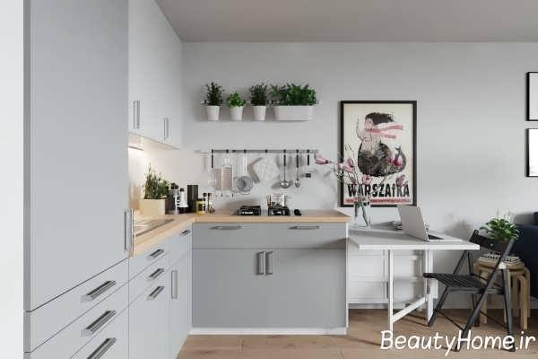 دکوراسیون لاکچری آشپزخانه ال شکل
