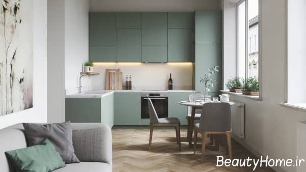 آشپزخانه ال با طراحی ظریف