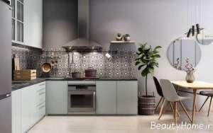 آشپزخانه با طراحی ظریف ال