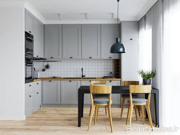 چیدمان زیبای آشپزخانه ال شکل