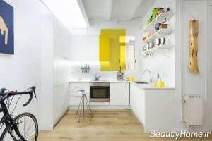 آشپزخانه ال شکل با چیدمان مدرن