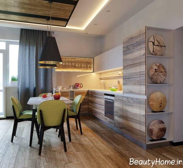 آشپزخانه ال شکل با چیدمان ظریف