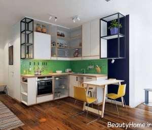 طراحی زیبا آشپزخانه ال شکل