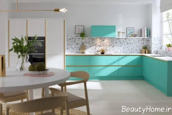 طراحی متفاوت آشپزخانه ال شکل