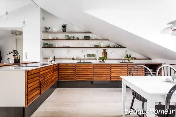 طراحی فوق العاده آشپزخانه ال شکل
