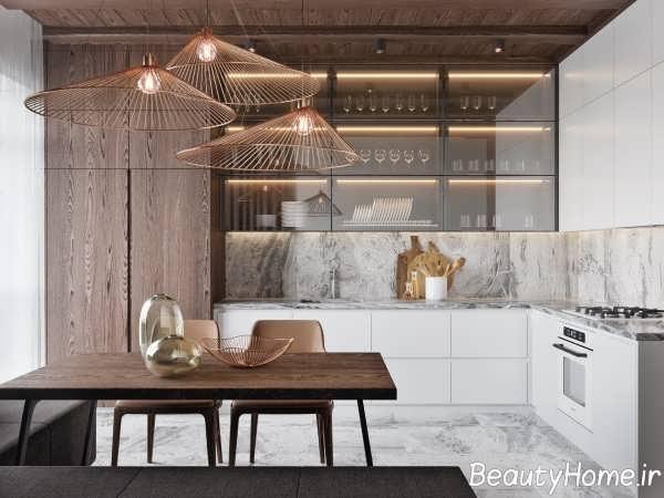 طراحی ایده آل آشپزخانه ال شکل