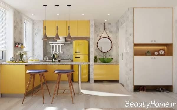 طراحی جدید آشپزخانه ال شکل