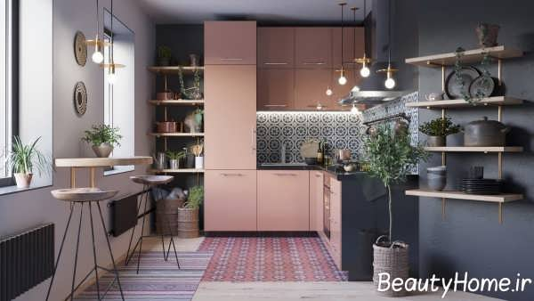 طراحی لاکچری آشپزخانه ال شکل