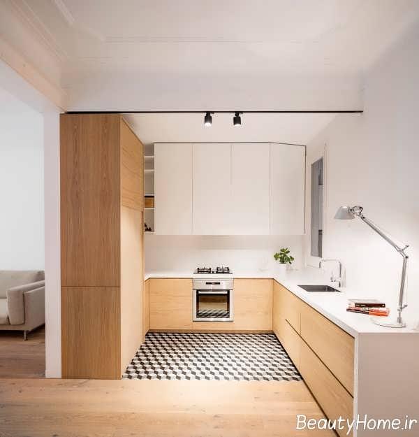 دیزاین جذاب آشپزخانه ال شکل