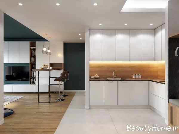 دیزاین زیبای آشپزخانه ال شکل