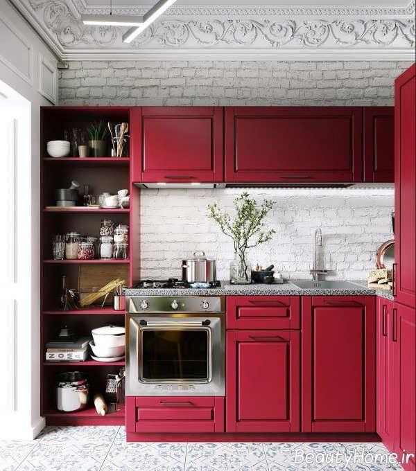 آشپزخانه ال شکل با دیزاین شیک