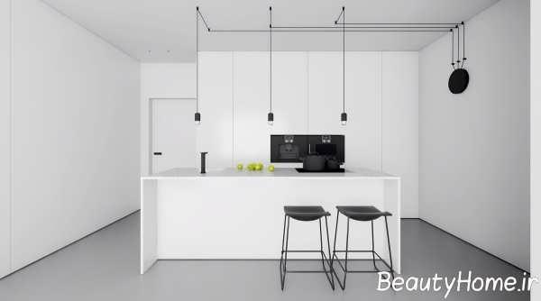 آشپزخانه جزیره مدرن و سفید