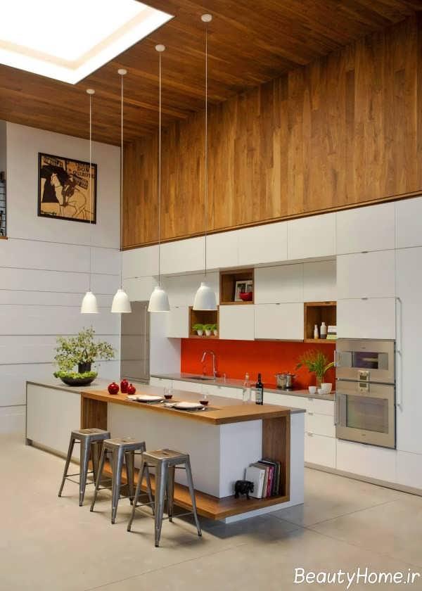 آشپزخانه جزیره مدرن و زیبا