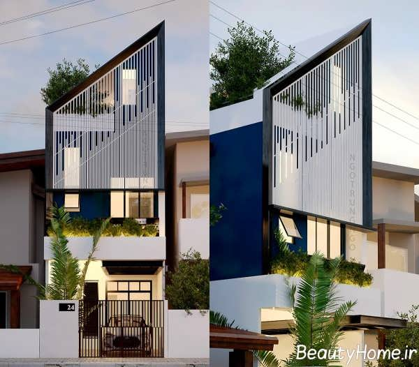 نمای ساختمان با عرض کم